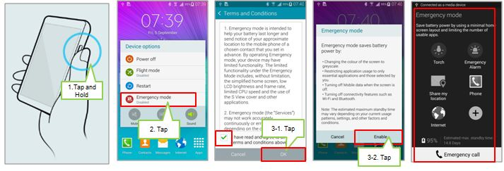 Galaxy Note4: How to activate the emergency mode?