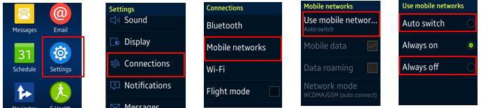 set mobile network option
