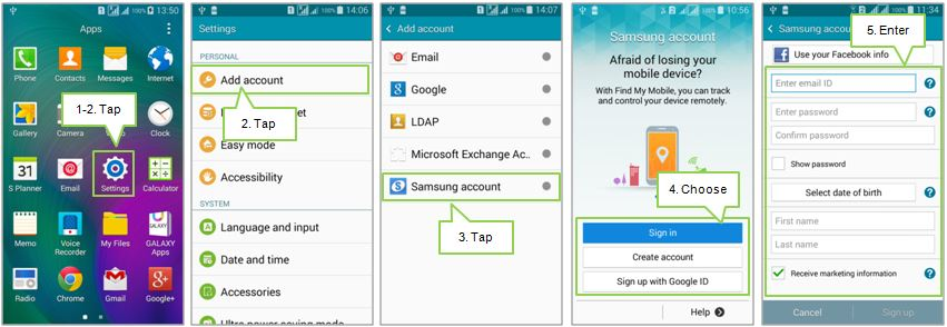 Galaxy A3: How to set up a Samsung Account?