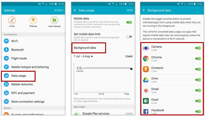 [Galaxy Note 5] How to disable the running apps on the background in using mobile data?