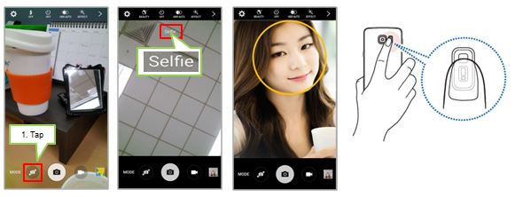 Galaxy Note5: How to take images by Selfie mode using the front camera?