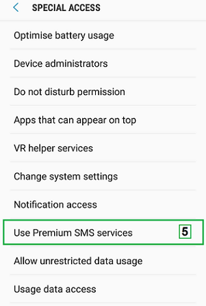 Nougat OS: How to change premium SMS settings to allow sending SMS to short numbers?