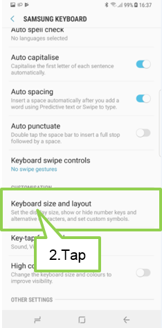 Tap Keyboard size and layout