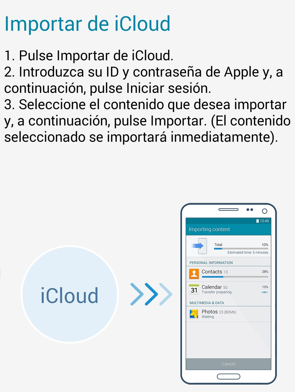 Samsung Smart Switch: iCloud (Android 4.x)