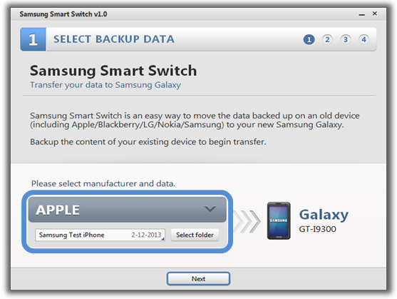 How can I transfer my data from old device to new device with Smart Switch PC tool?