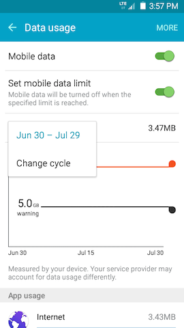 Grand Prime: How do I monitor data usage on my Samsung Galaxy Grand Prime?