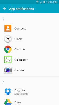 Galaxy A5: How do I change the application notifications on my Samsung Galaxy A5?