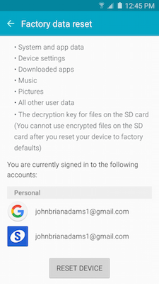 How do I delete all of my personal information from my Galaxy S5 Neo?