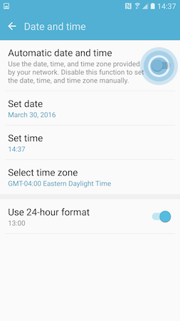 Galaxy S7: How do I set the automatic date and time on my Samsung Galaxy S7?