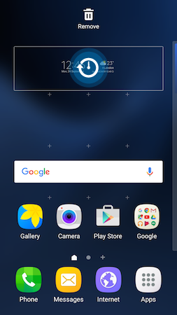 How do I add the Weather and Clock widget to the Home screen of my Galaxy S7?