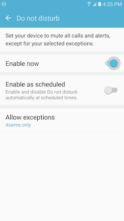 What is the Do not disturb feature, and how do I use it on my Galaxy S7?