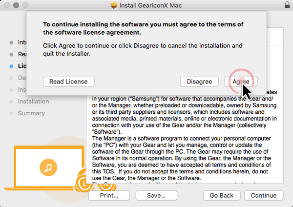 How do I install the Gear IconX Manager software on my Mac and how do I use it?