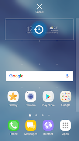 How do I add the Weather and Clock widget to the Home screen of my Galaxy A5 2017?