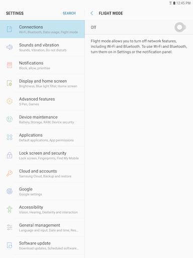Galaxy Tab S3 How Do I Use Flight Mode On My Samsung Galaxy Tab S3 Sm T820 Samsung Support Ca