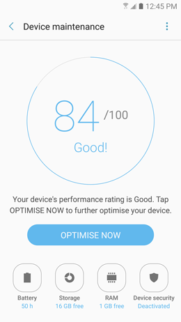 How can I use device maintenance to optimize the performance of my  Galaxy A5 2017?