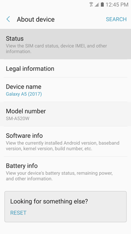 Galaxy A5 (2017): How do I locate the IMEI number on my Samsung Galaxy A5 2017 (SM-A520W)?