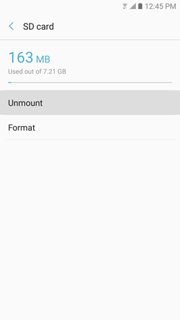 How do I unmount the microSD card inserted in my Galaxy A5 2017?