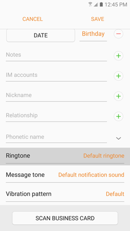 How can I assign different ringtones to different contacts on my Samsung Galaxy A5 2017?