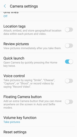 How do I quickly launch the Camera app on my Galaxy A5 2017?