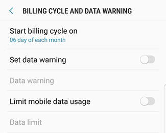 Data Usage Settings 2