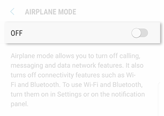 Turn Off Airplane Mode from Settings