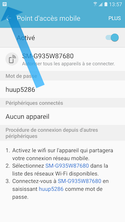 Galaxy S7: Point d'accès mobile ou modem USB (SM-G930W)
