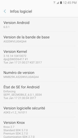 Galaxy A5 (2017): Version de la plate-forme Android (SM-A520W)