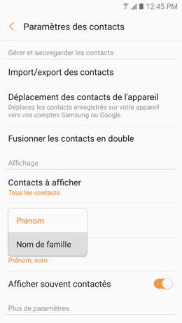 Galaxy A5 (2017): Modifier le mode de tri des contacts (SM-A520W)
