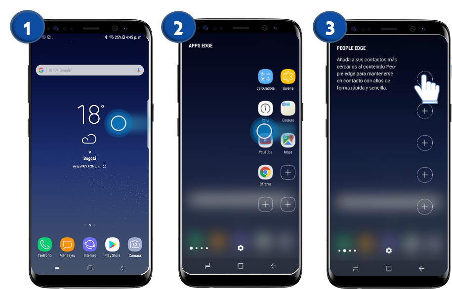 Samsung: Galaxy S8 y S8+-Agregar contactos al People edge.