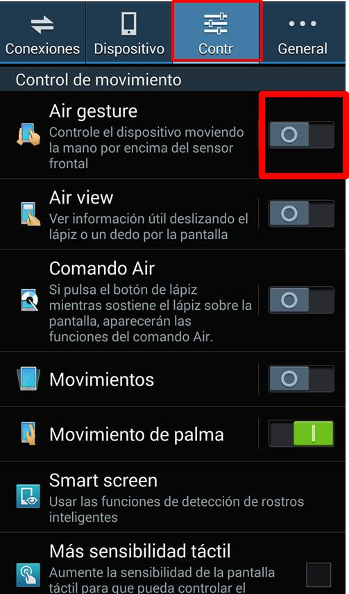 Galaxy Note3: ¿Cómo activar Air Gesture?