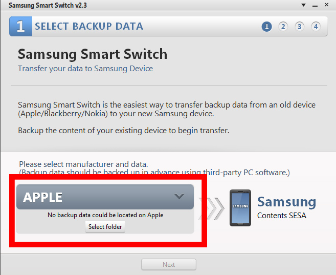 Smart Switch: Pasar datos de un teléfono Apple, BlackBerry o Nokia a nuestro dispositivo.