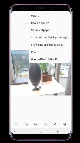 """A fotót külön fájlként is elmentheted, ha a További opciók ikonra, majd a """"Mentés új fájlként"""" opcióra koppintasz"""