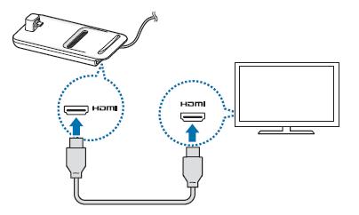 Csatlakoztasd a HDMI-kábel egyik végét a DeX-dokkolóhoz, a másik végét pedig dugd be a TV vagy a monitor HDMI csatlakozójába