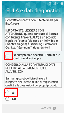Eula e dati diagnostici