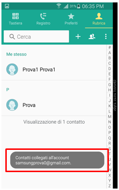 Contacti collegati all'account