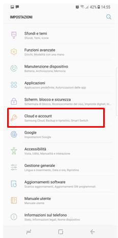 Selezioni la voce Cloud e Account