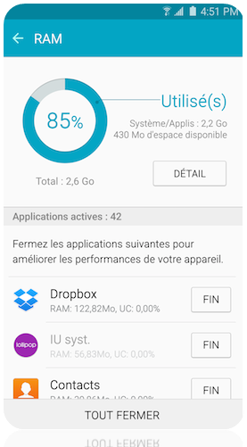 Comment utiliser l'application Smart Manager sur mon Samsung Galaxy s6 Edge?