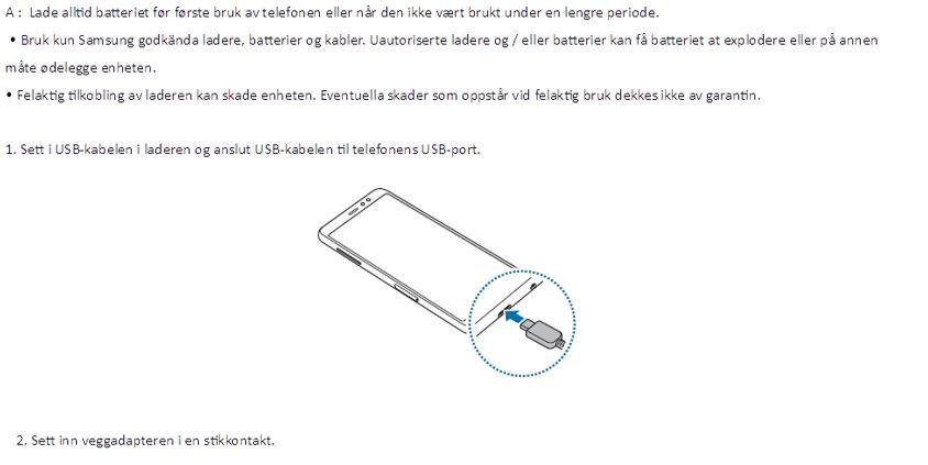 samsung a8 lader kabel