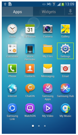 GS4 Apps Menu - Settings Icon Framed