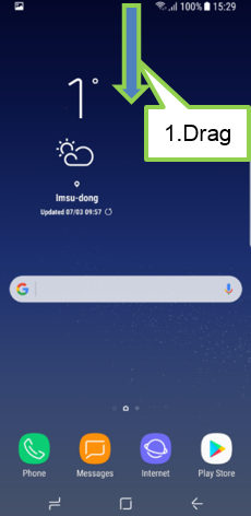 Open the notification panel by dragging the status bar downwards