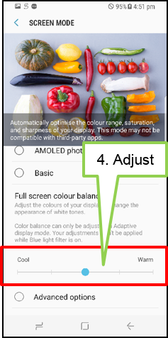 Adjust Full screen Color balance