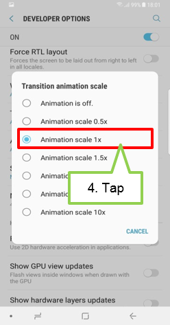 Select Animation scale 1x.