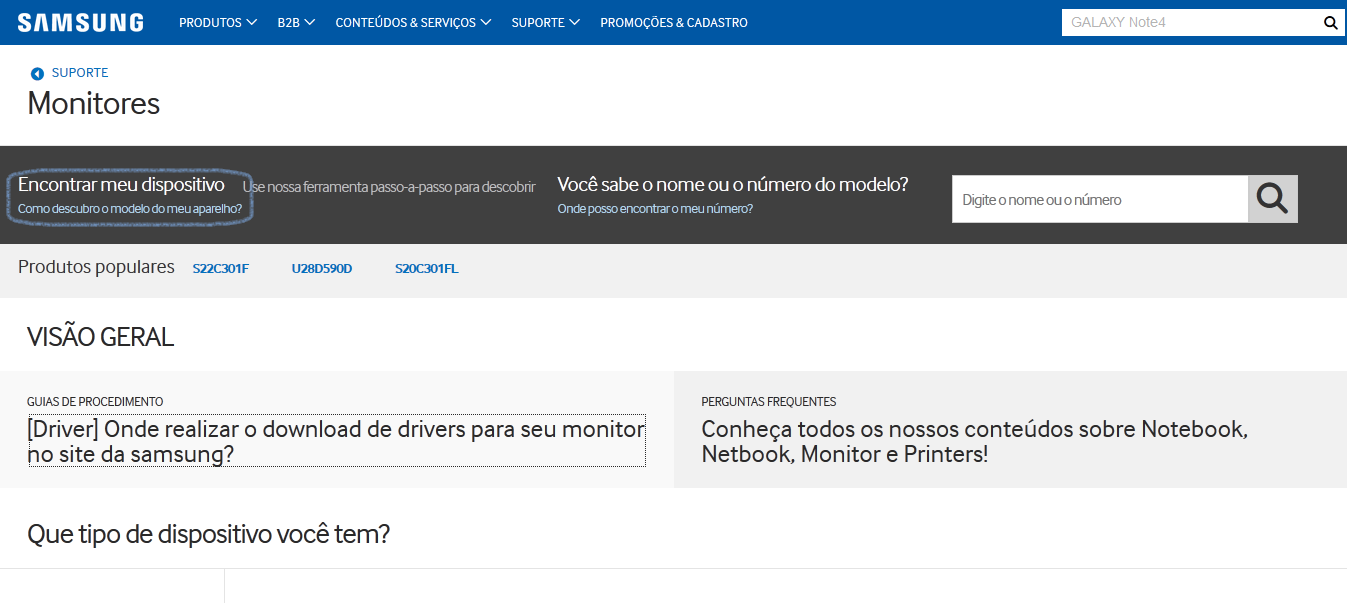 Driver: Onde realizar o download de drivers para seu monitor no site da Samsung?