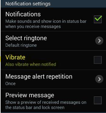 uncheck vibrate
