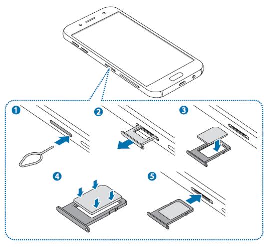 [J5/J7 2017] How do I install the SIM card on Galaxy J5/J7 2017 single SIM models?