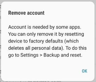 Error in removing account