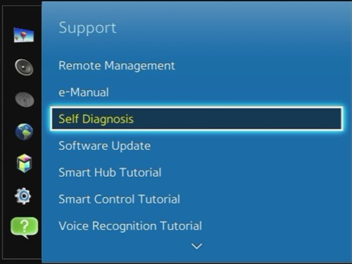 Navigate to and select the Self Diagnosis option.