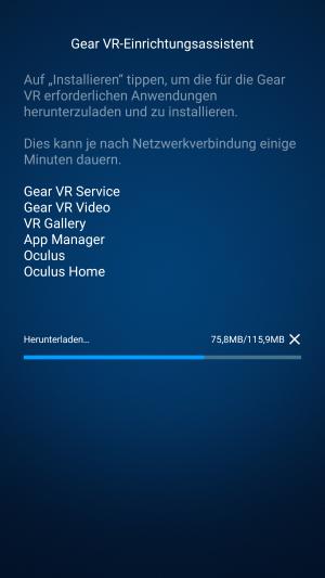 Die benötigten Apps und Dateien werden nun auf Ihr Smartphone heruntergeladen und installiert