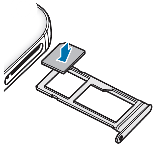 Legen Sie die Nano-SIM-Karte in die vordere Öffnung des Kartenhalters (siehe Bild)
