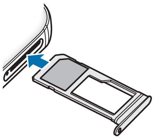 Schieben Sie den Kartenhalter wieder vorsichtig in Ihr Galaxy S7 ein und stellen Sie sicher, dass der Kartenhalter bündig schliesst